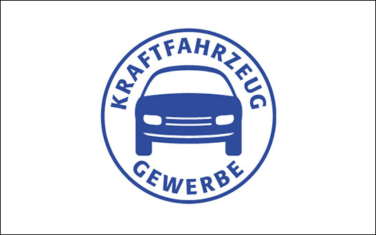 Kraftfahrzeug Gewerbe Logo farbig dunkelblau - Kunde von STEP Advertainment